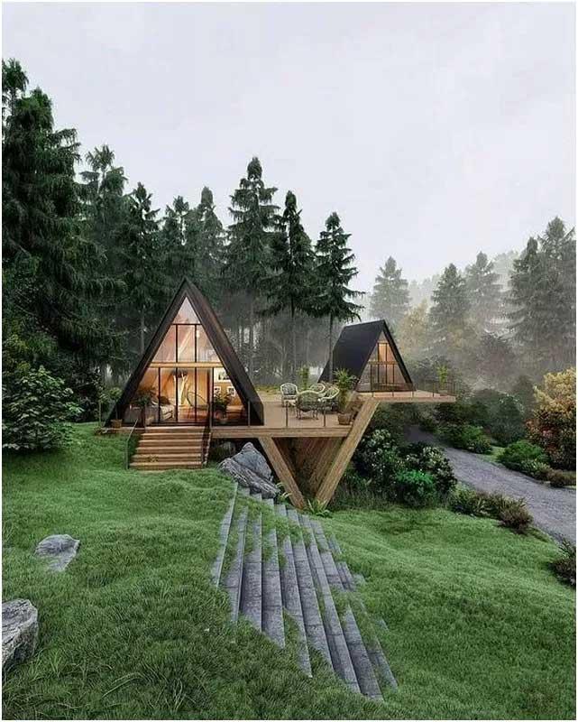 Những căn nhà bungalow chủ yếu làm từ chất liệu tự nhiên