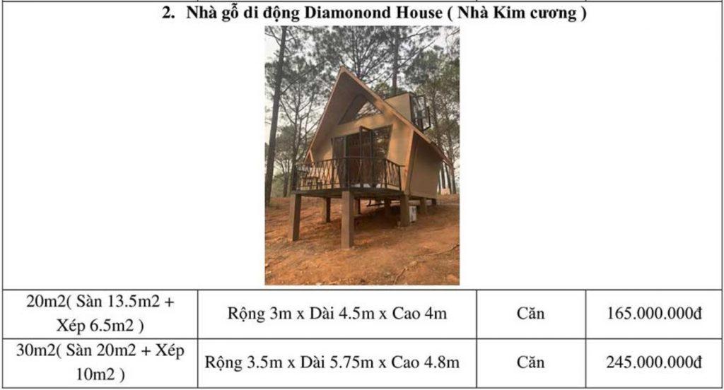 Báo giá chi phí xây nhà bungalow kiểu nhà gỗ di động Diamonond House (nhà kim cương)