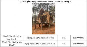 Bảng giá thi công nhà gỗ di động Diamonond House