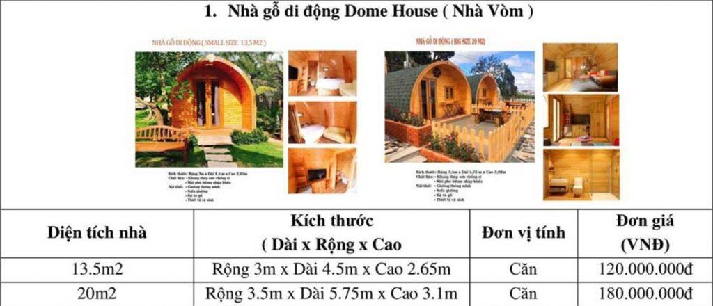 Chí phí thi công bungalow dạng nhà vòm
