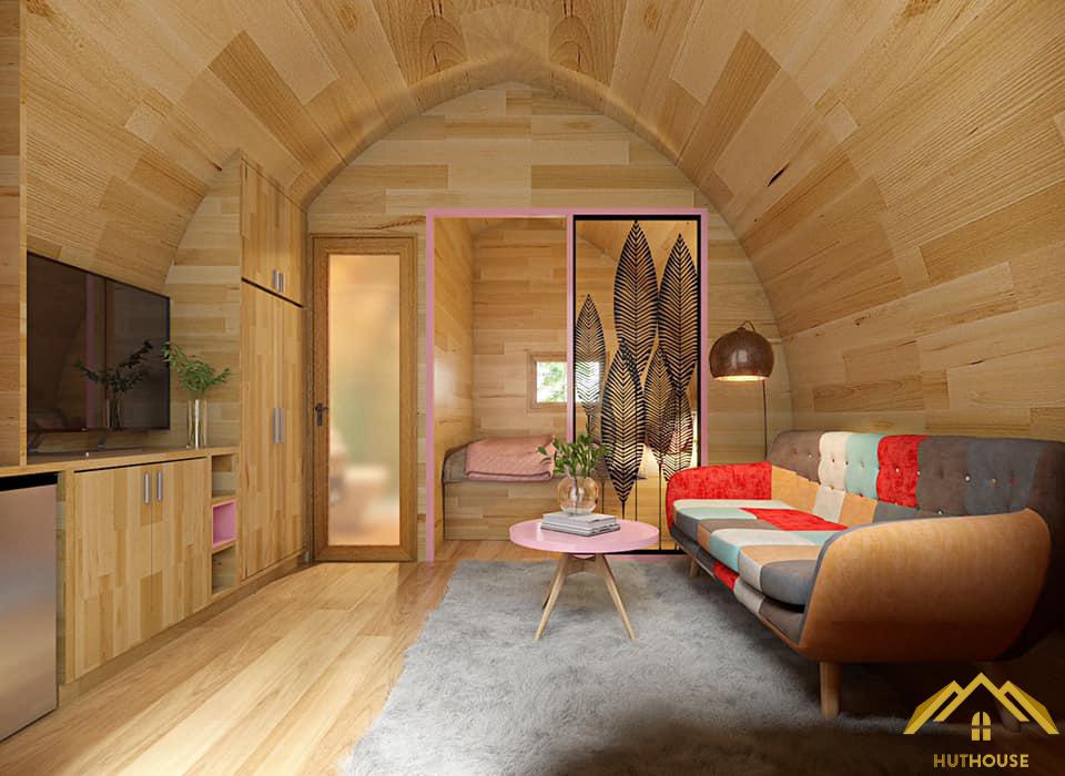 Bên trong nội thất mẫu nhà Bungalow đầy đủ tiện ích cho du khách tới nghỉ dưỡng