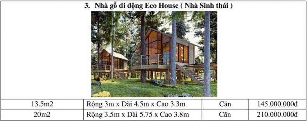 Bảng giá thi công nhà gỗ di động Eco House
