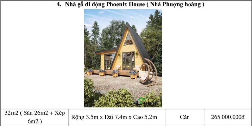 Bảng giá thi công nhà gỗ di động Phoenix House